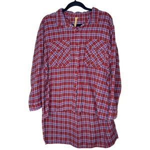 Tops - FLANNEL PLAID HIGH LOW BUTTON DOWN TOP